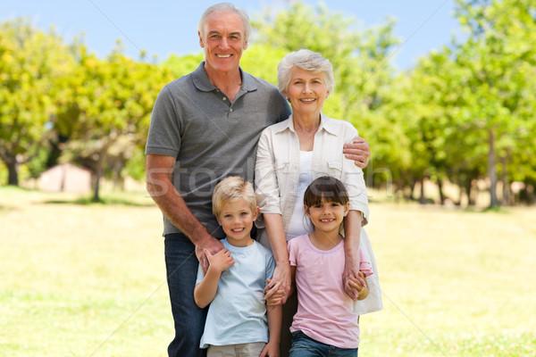 Dedesi torunlar park gökyüzü kız sevmek Stok fotoğraf © wavebreak_media