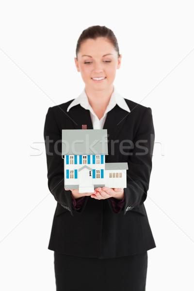 Takım elbise minyatür ev ayakta Stok fotoğraf © wavebreak_media