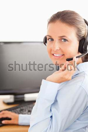 Kantoormedewerker telefoon kantoor telefoon schoonheid Stockfoto © wavebreak_media