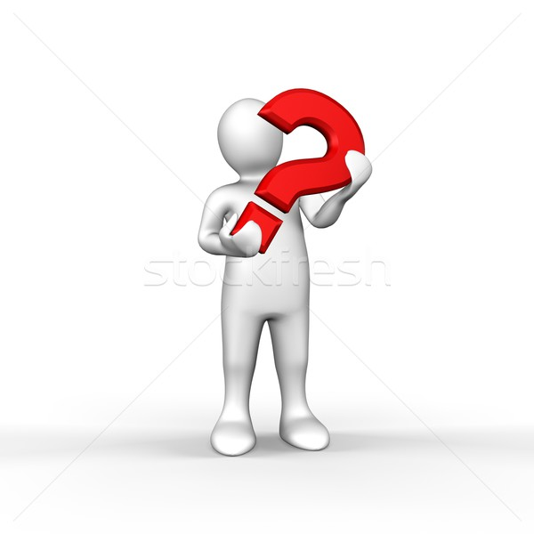 An illustrated white figure holding a red question mark Stock photo © wavebreak_media