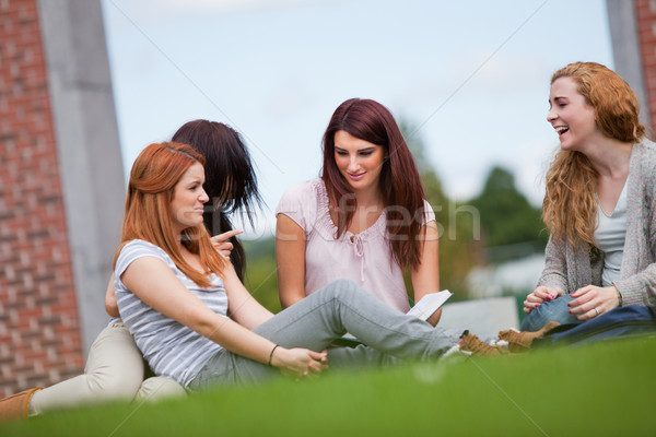 Amis bon temps séance pelouse femme Photo stock © wavebreak_media