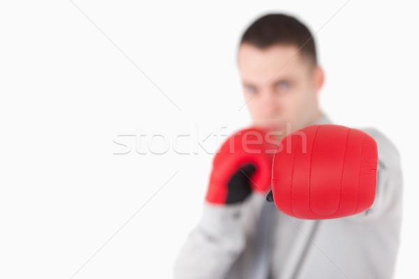 Empresário luvas de boxe câmera foco luvas Foto stock © wavebreak_media