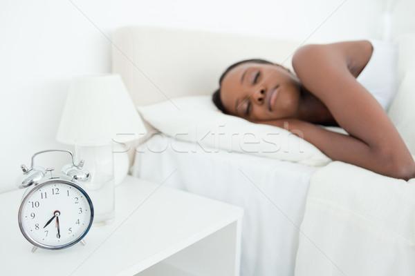 Nő alszik ébresztőóra hálószoba arc modell Stock fotó © wavebreak_media