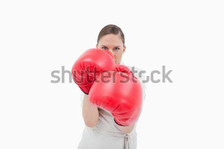 деловая женщина боксерские перчатки белый бизнеса стороны Сток-фото © wavebreak_media