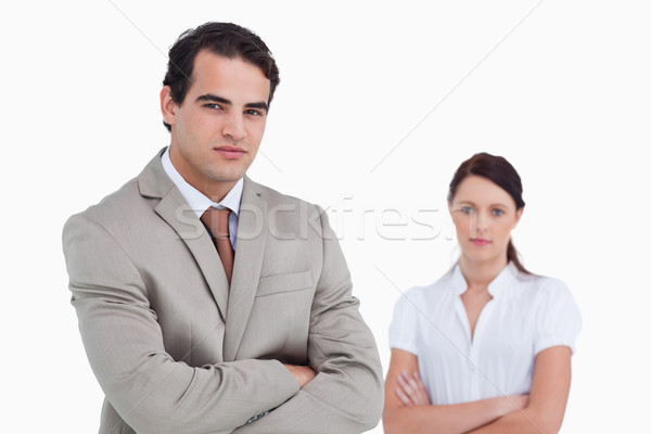 Verkoper collega achter witte vrouw Stockfoto © wavebreak_media