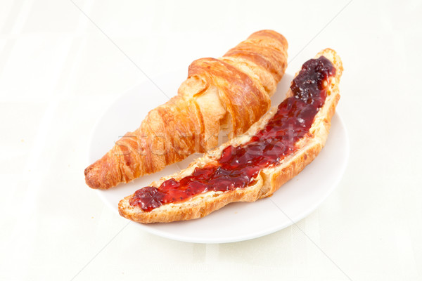 Croissant on a plateful against white background Stock photo © wavebreak_media