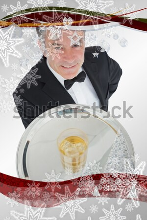 Waiter passing the red phone receiver on a silver tray Stock photo © wavebreak_media