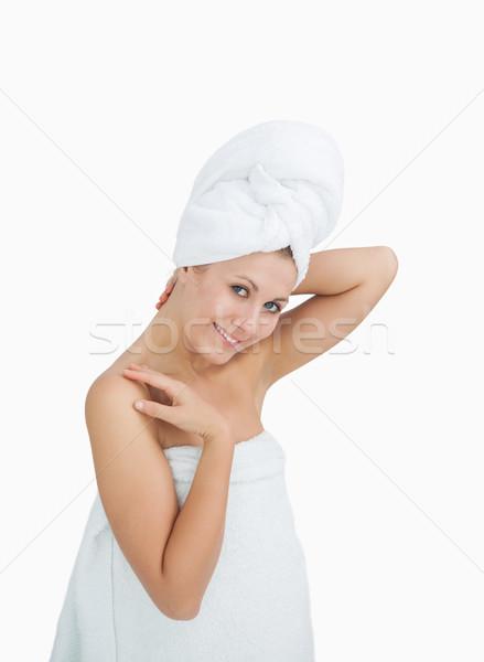 портрет счастливым женщину полотенце белый Сток-фото © wavebreak_media