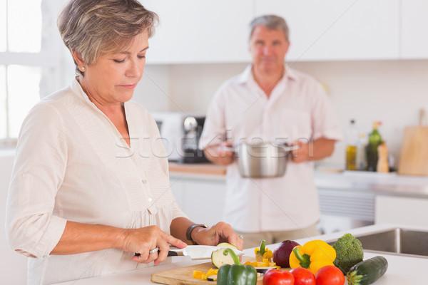 Casal velho cozinha mulher casa tabela Foto stock © wavebreak_media