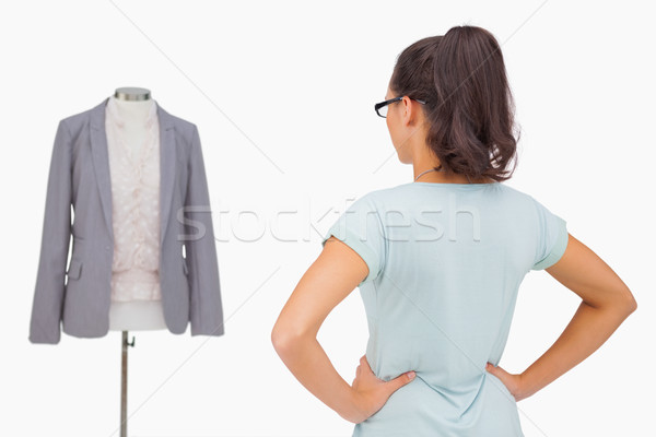 Estilista olhando manequim branco moda projeto Foto stock © wavebreak_media