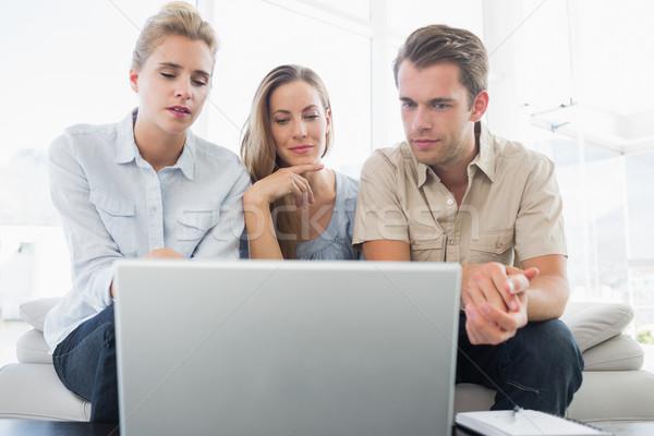 Három ember dolgozik számítógép három fiatalok fényes Stock fotó © wavebreak_media