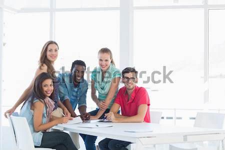 Foto stock: Grupo · casual · trabalhando · projetos · criador · escritório