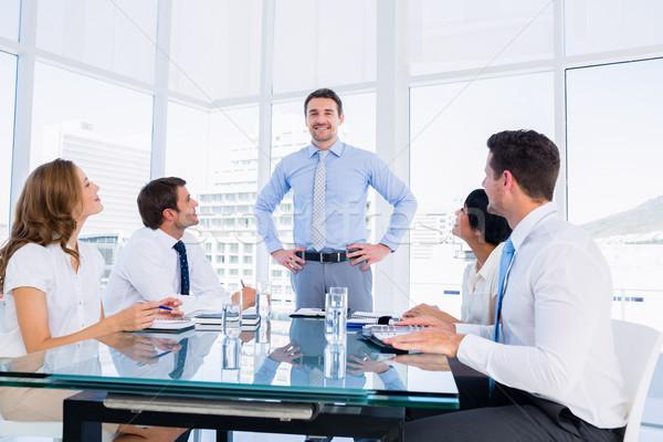 Stockfoto: Vergadering · rond · conferentie · tabel · jonge