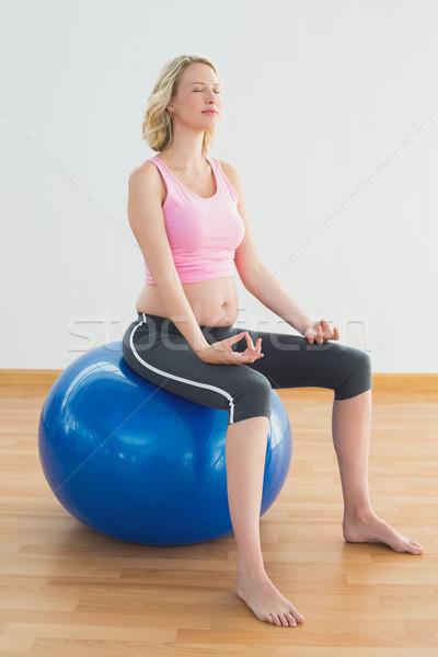 Stock fotó: Higgadt · szőke · nő · terhes · nő · ül · testmozgás · labda