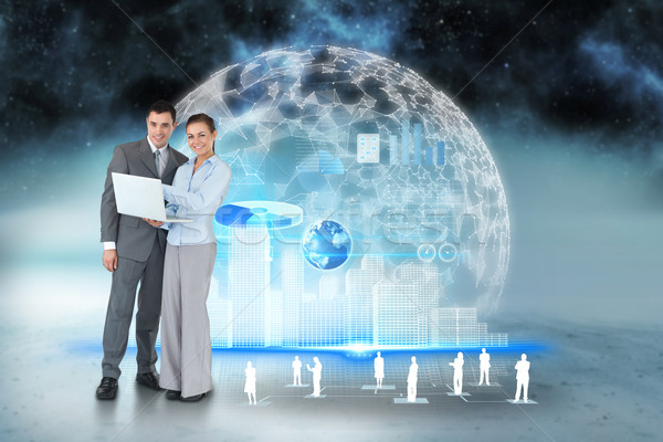 Boldog üzleti csapat laptopot használ interfész emberi digitális kompozit Stock fotó © wavebreak_media