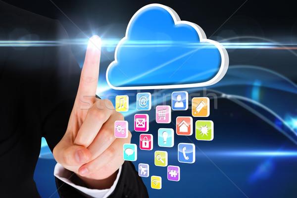 Dedo indicação nuvem aplicativo ícones composição digital Foto stock © wavebreak_media
