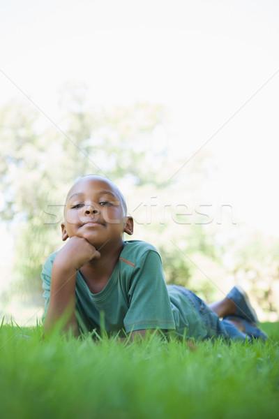 Little boy lying on grass smiling at camera Stock photo © wavebreak_media