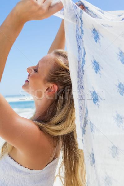 Csinos gondtalan szőke nő pózol tengerpart sál Stock fotó © wavebreak_media