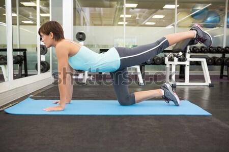 Fit smiling brunette doing pilates on exercise mat Stock photo © wavebreak_media