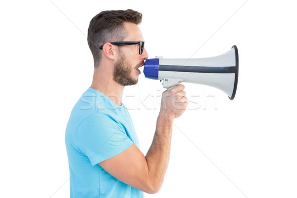 Jóképű hipszter beszél megafon fehér divat Stock fotó © wavebreak_media