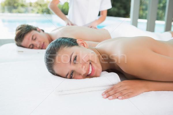 Couple enjoying massage at health farm Stock photo © wavebreak_media