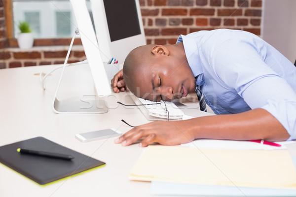 üzletember pihen fej számítógép billentyűzet fiatal iroda Stock fotó © wavebreak_media