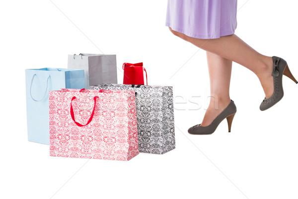 Középső rész nő bevásárlótáskák fehér női kiskereskedelem Stock fotó © wavebreak_media