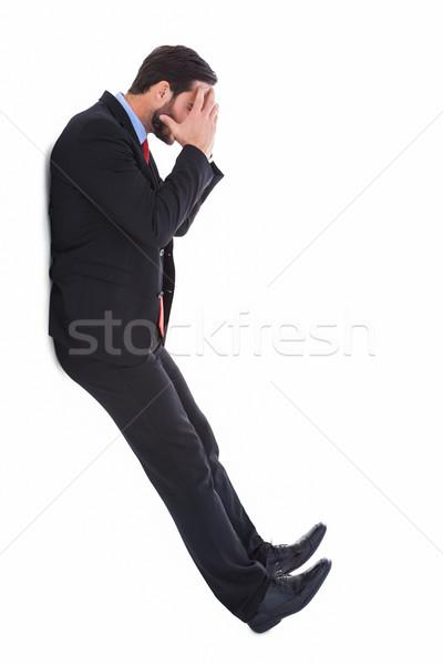 Zmartwiony biznesmen głowie ręce biały człowiek Zdjęcia stock © wavebreak_media
