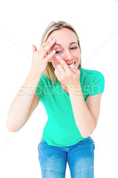 Mutlu lens beyaz kadın Stok fotoğraf © wavebreak_media
