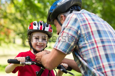 отец Велоспорт шлема весны человека Сток-фото © wavebreak_media