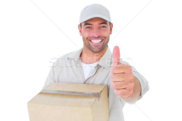 Futár kartondoboz gesztikulál remek portré jóképű Stock fotó © wavebreak_media