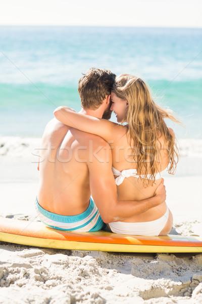 счастливым пару купальник пляж женщину Сток-фото © wavebreak_media