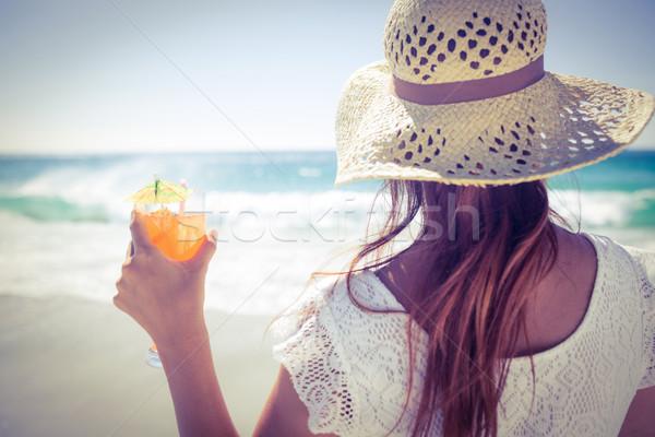 ブルネット 着用 麦わら帽子 カクテル ビーチ ストックフォト © wavebreak_media