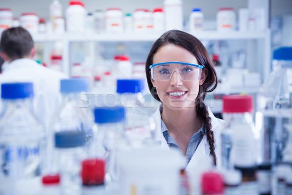 肖像 笑みを浮かべて 化学者 着用 保護眼鏡 ラボ ストックフォト © wavebreak_media