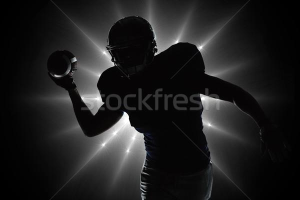 összetett kép sziluett sportoló dob futball Stock fotó © wavebreak_media