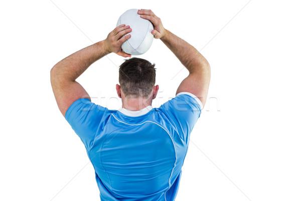Rögbi játékos dob labda fehér sport Stock fotó © wavebreak_media