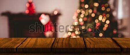 Composite image of focus of wooden shelf Stock photo © wavebreak_media