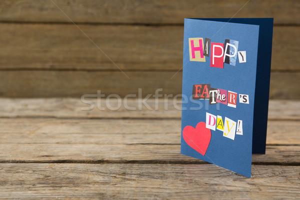 Foto stock: Feliz · dia · dos · pais · cartão · mesa · de · madeira · amor · madeira