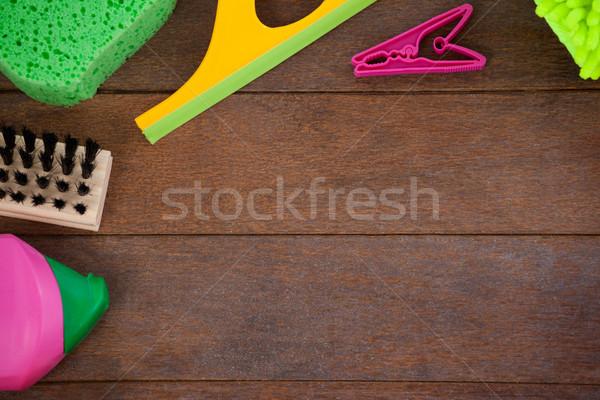 Különböző takarítás felszerelések fapadló kilátás otthon Stock fotó © wavebreak_media
