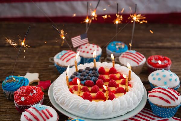патриотический торт деревянный стол синий Сток-фото © wavebreak_media