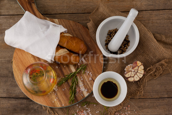 Overhead view of spice and ingredients on table Stock photo © wavebreak_media