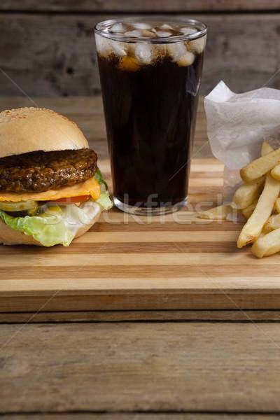 ハンバーガー フライドポテト 冷たい飲み物 表 クローズアップ 食品 ストックフォト © wavebreak_media