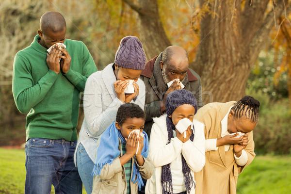Enfermos familia sonarse la nariz nina árbol ninos Foto stock © wavebreak_media