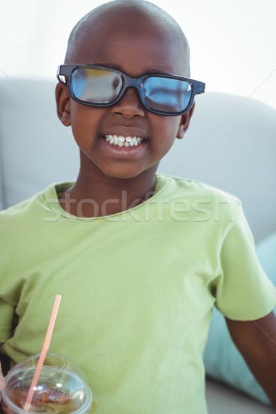 Gülen erkek 3d gözlük film kanepe Stok fotoğraf © wavebreak_media