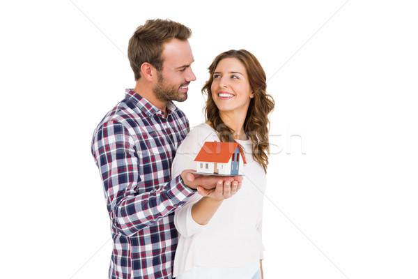 Boldog fiatal pér tart modell ház fehér Stock fotó © wavebreak_media