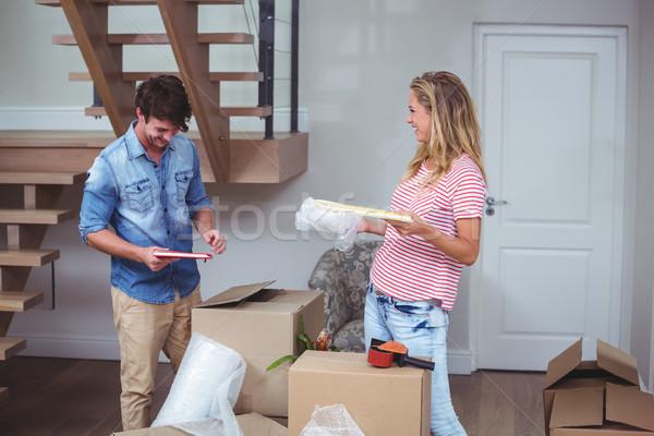 Mosolyog férfi nő könyvek otthon ház Stock fotó © wavebreak_media