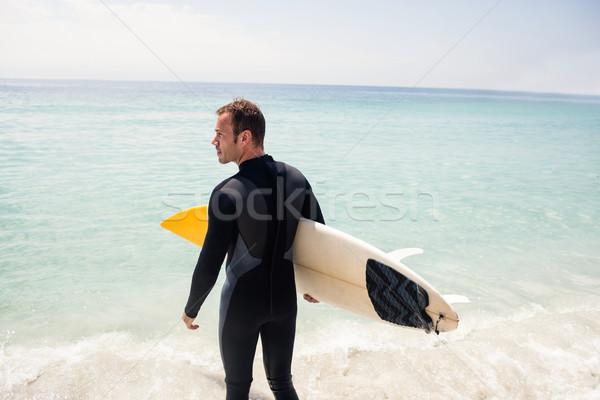Vue arrière internaute planche de surf plage Photo stock © wavebreak_media