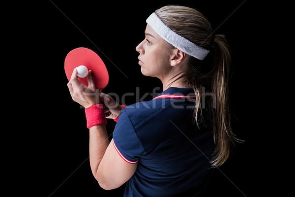 Kadın atlet oynama ping pong siyah vücut Stok fotoğraf © wavebreak_media