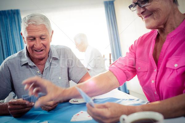 Grupo cartas de jogar aposentadoria casa homem Foto stock © wavebreak_media