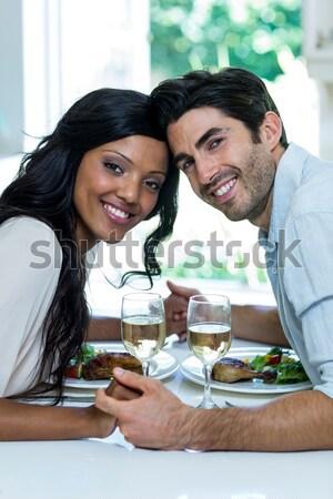Pareja Cafetería retrato sonriendo hombre feliz Foto stock © wavebreak_media